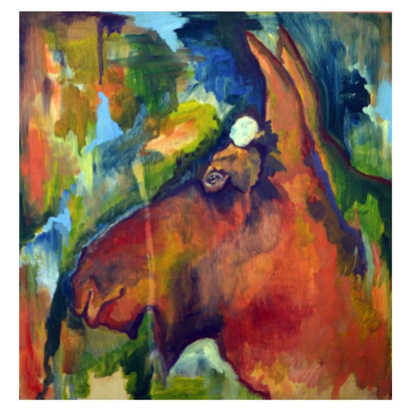 Moose oil painting